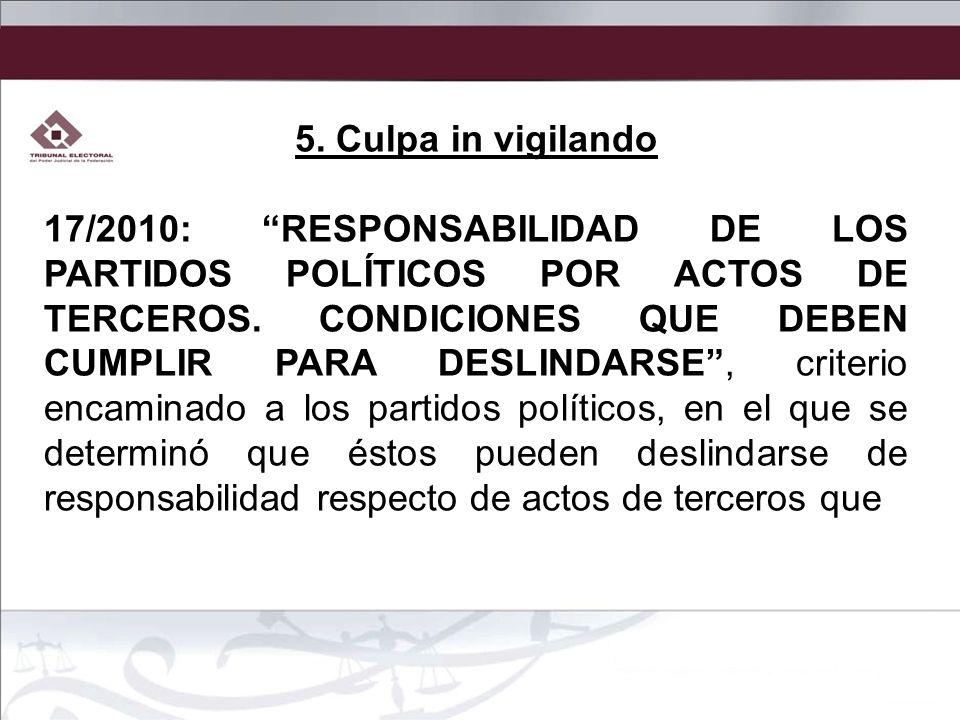 5. Culpa in vigilando 17/2010: RESPONSABILIDAD DE LOS PARTIDOS POLÍTICOS POR ACTOS DE TERCEROS. CONDICIONES QUE DEBEN CUMPLIR PARA DESLINDARSE, criter