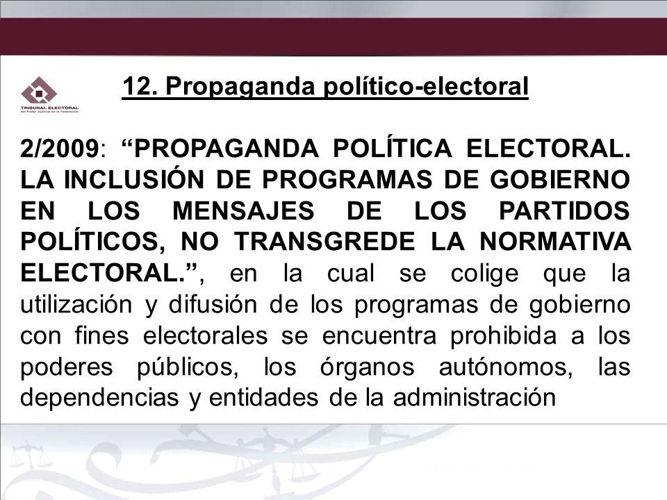12. Propaganda político-electoral 2/2009: PROPAGANDA POLÍTICA ELECTORAL. LA INCLUSIÓN DE PROGRAMAS DE GOBIERNO EN LOS MENSAJES DE LOS PARTIDOS POLÍTIC