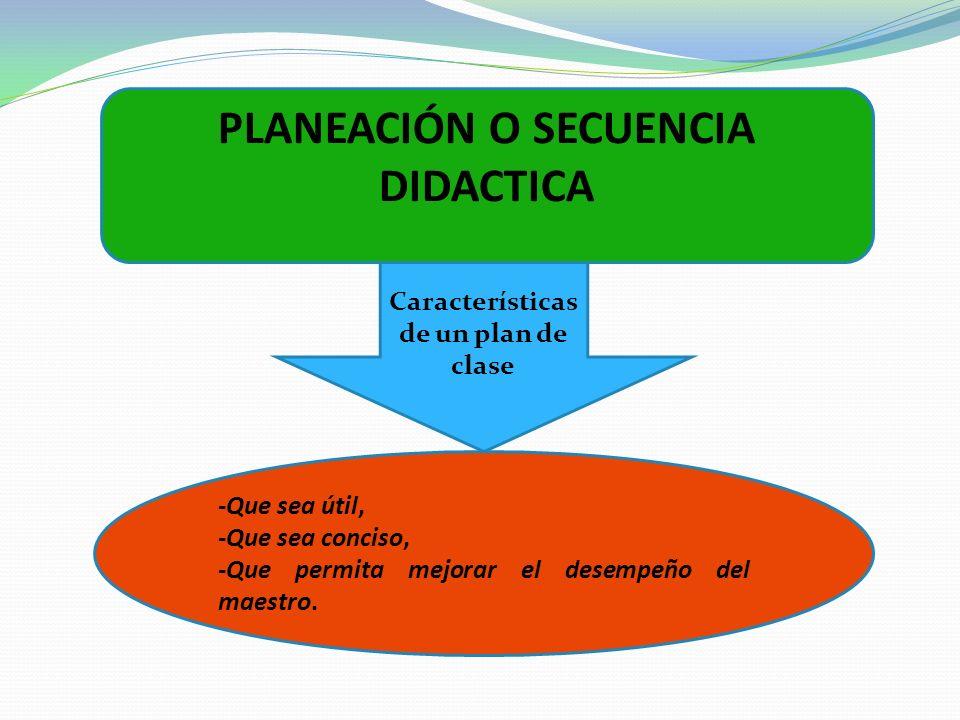 Características de un plan de clase PLANEACIÓN O SECUENCIA DIDACTICA -Que sea útil, -Que sea conciso, -Que permita mejorar el desempeño del maestro.