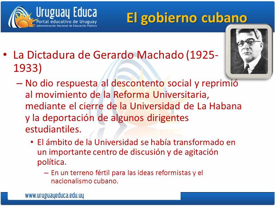 El gobierno cubano 1933 La Revolución de los Sargentos desplazó a Machado.
