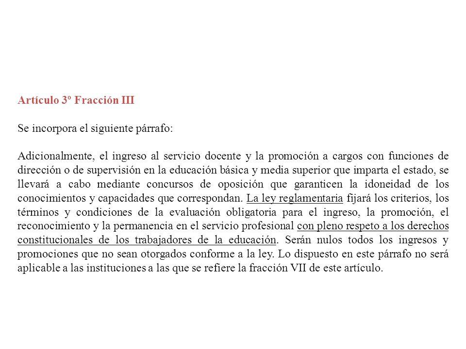 Artículo 3º Fracción III Se incorpora el siguiente párrafo: Adicionalmente, el ingreso al servicio docente y la promoción a cargos con funciones de di