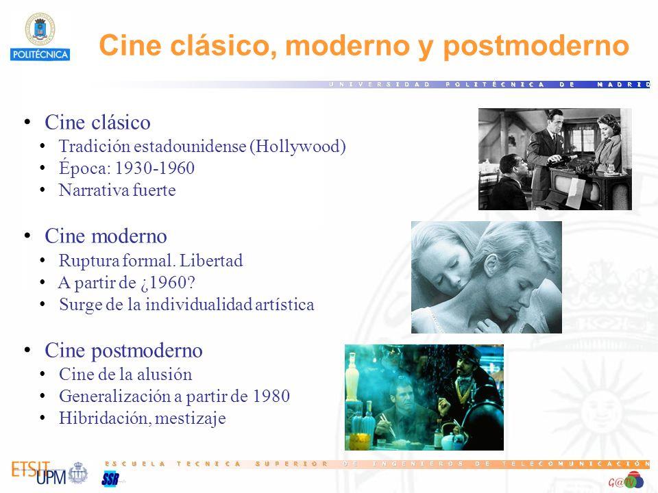 Cine clásico Tradición estadounidense (Hollywood) Época: 1930-1960 Narrativa fuerte Cine moderno Ruptura formal. Libertad A partir de ¿1960? Surge de