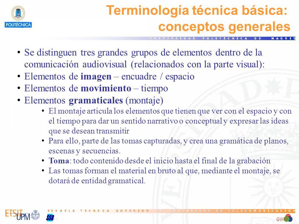 Terminología técnica básica: conceptos generales Se distinguen tres grandes grupos de elementos dentro de la comunicación audiovisual (relacionados co
