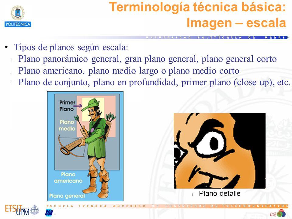 Terminología técnica básica: Imagen – escala Tipos de planos según escala: l Plano panorámico general, gran plano general, plano general corto l Plano