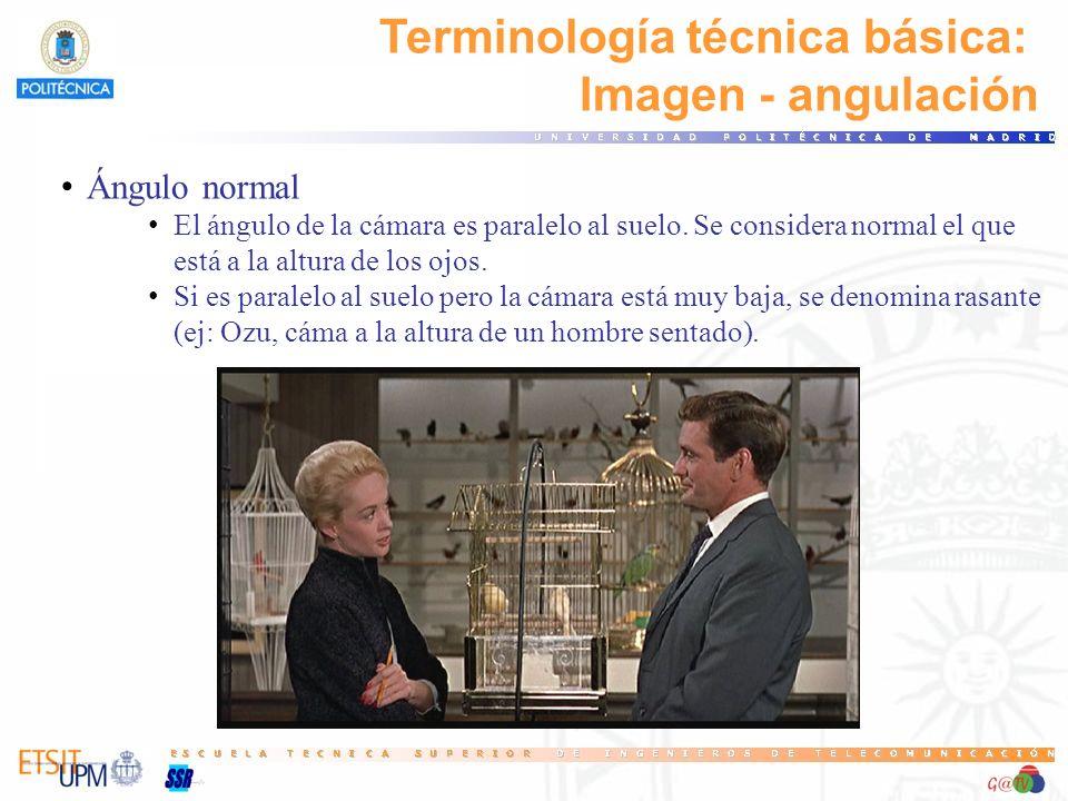 Terminología técnica básica: Imagen - angulación Ángulo normal El ángulo de la cámara es paralelo al suelo. Se considera normal el que está a la altur