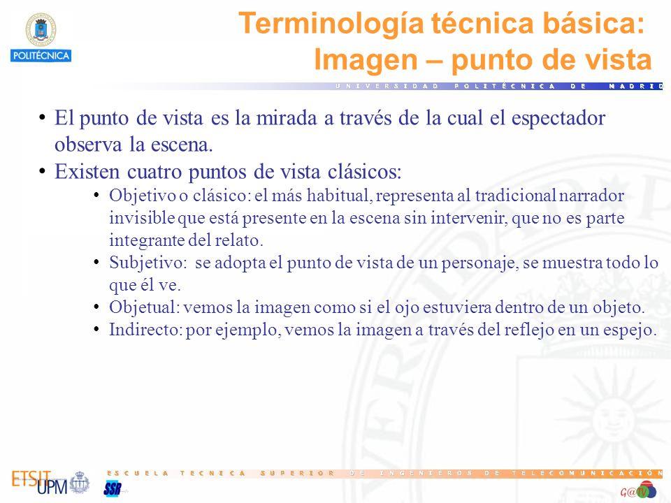 Terminología técnica básica: Imagen – punto de vista El punto de vista es la mirada a través de la cual el espectador observa la escena. Existen cuatr