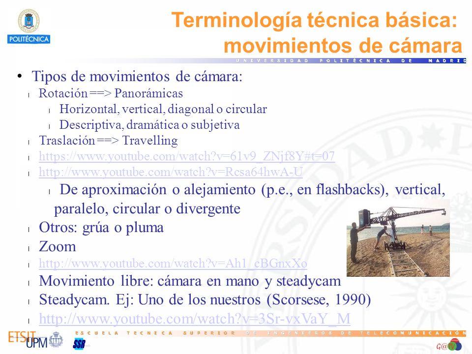 Terminología técnica básica: movimientos de cámara Tipos de movimientos de cámara: l Rotación ==> Panorámicas l Horizontal, vertical, diagonal o circu