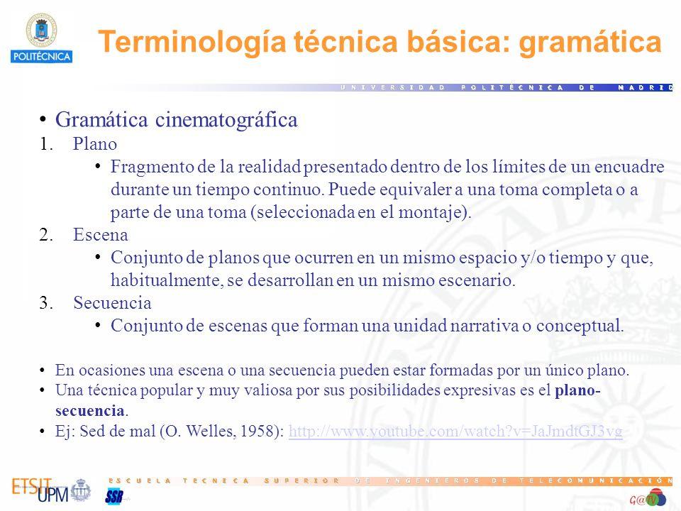 Terminología técnica básica: gramática Gramática cinematográfica 1.Plano Fragmento de la realidad presentado dentro de los límites de un encuadre dura
