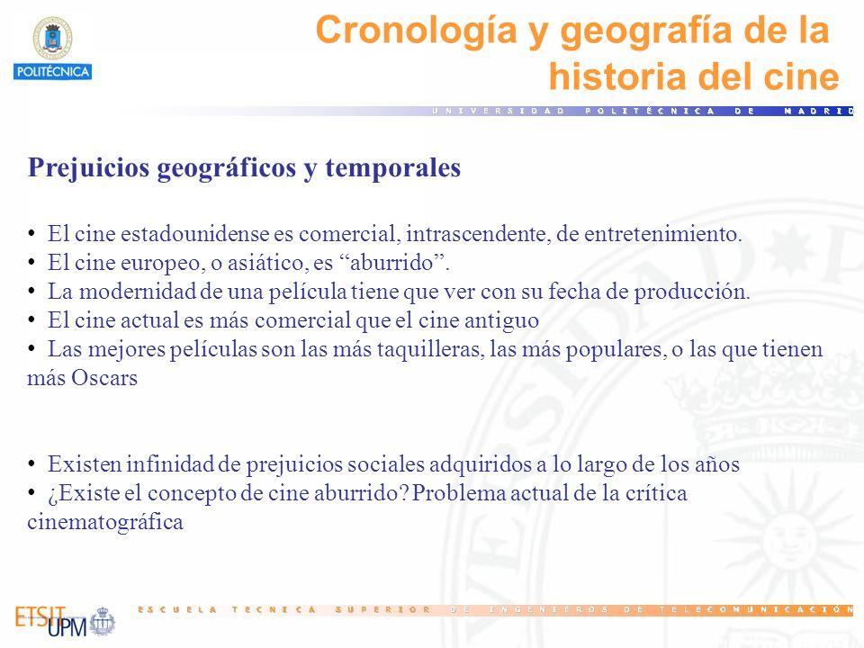 Cronología y geografía de la historia del cine Prejuicios geográficos y temporales El cine estadounidense es comercial, intrascendente, de entretenimi