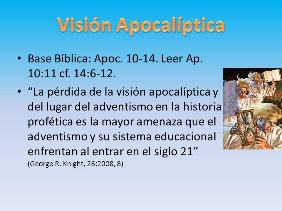 Base Bíblica: Apoc. 10-14. Leer Ap. 10:11 cf. 14:6-12. La pérdida de la visión apocalíptica y del lugar del adventismo en la historia profética es la
