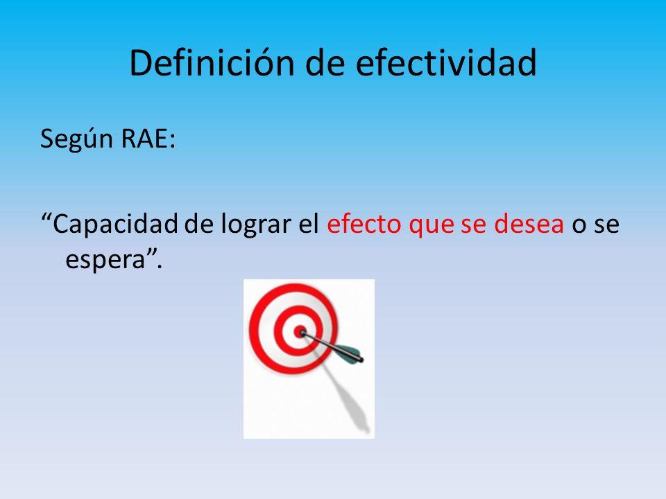 Según RAE: Capacidad de lograr el efecto que se desea o se espera. Definición de efectividad