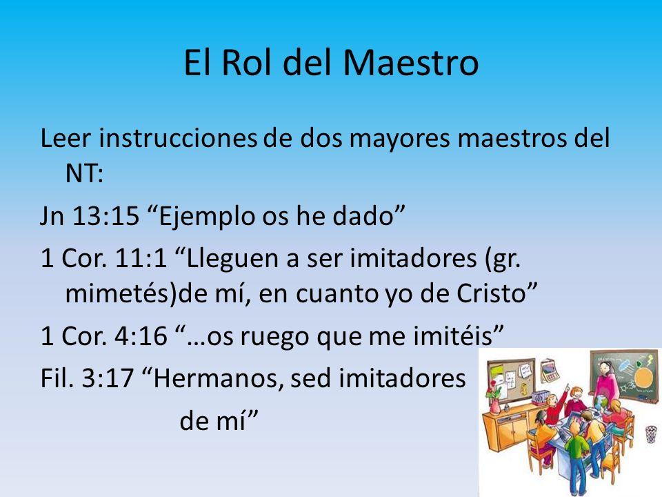 El Rol del Maestro Leer instrucciones de dos mayores maestros del NT: Jn 13:15 Ejemplo os he dado 1 Cor. 11:1 Lleguen a ser imitadores (gr. mimetés)de