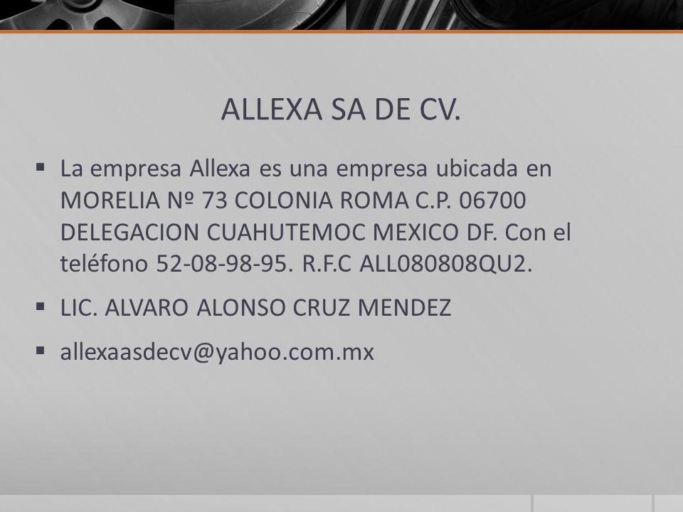 ALLEXA SA DE CV. La empresa Allexa es una empresa ubicada en MORELIA Nº 73 COLONIA ROMA C.P. 06700 DELEGACION CUAHUTEMOC MEXICO DF. Con el teléfono 52