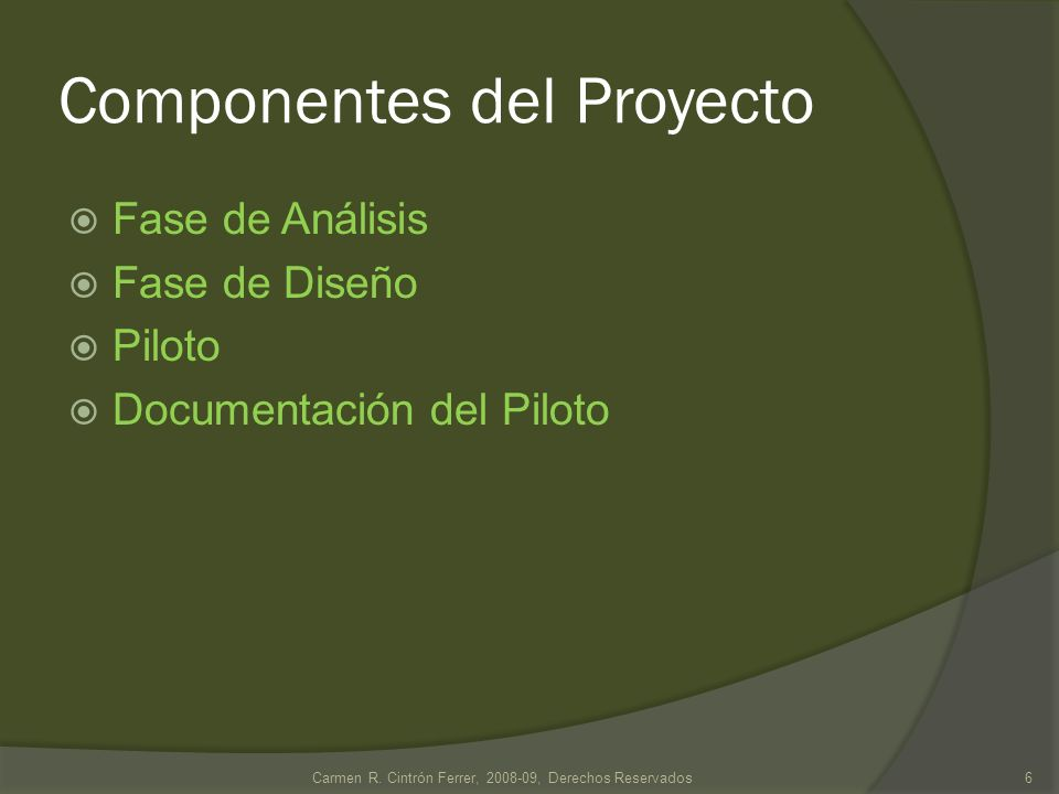 Componentes del Proyecto Fase de Análisis: Funciones que respalda Restricciones o constraints Jerarquía de procesos (si aplica) 7Carmen R.