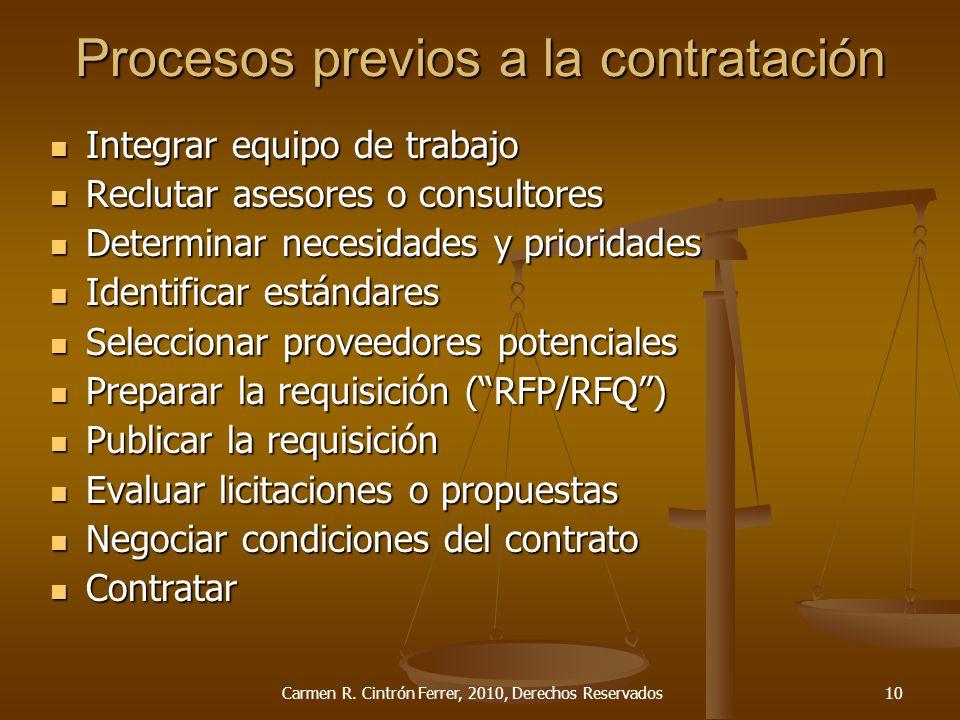 Procesos previos a la contratación Integrar equipo de trabajo Integrar equipo de trabajo Reclutar asesores o consultores Reclutar asesores o consultor