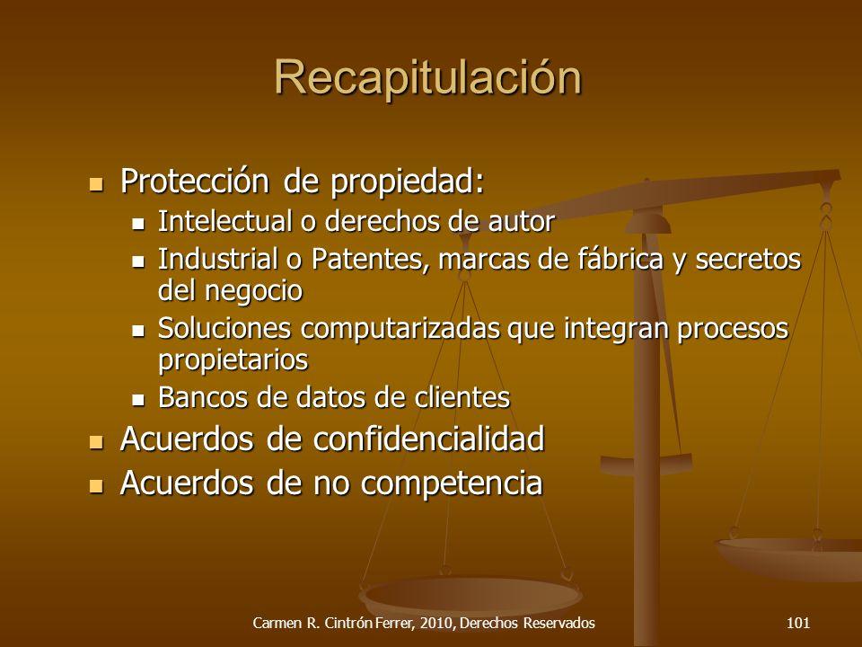Protección de propiedad: Protección de propiedad: Intelectual o derechos de autor Intelectual o derechos de autor Industrial o Patentes, marcas de fáb