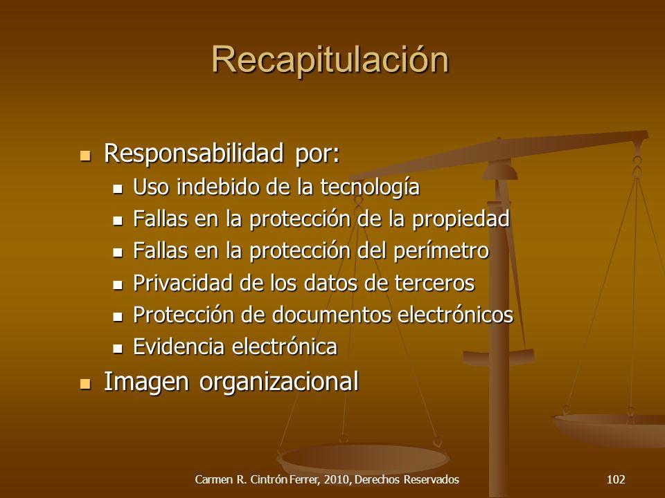 Responsabilidad por: Responsabilidad por: Uso indebido de la tecnología Uso indebido de la tecnología Fallas en la protección de la propiedad Fallas e