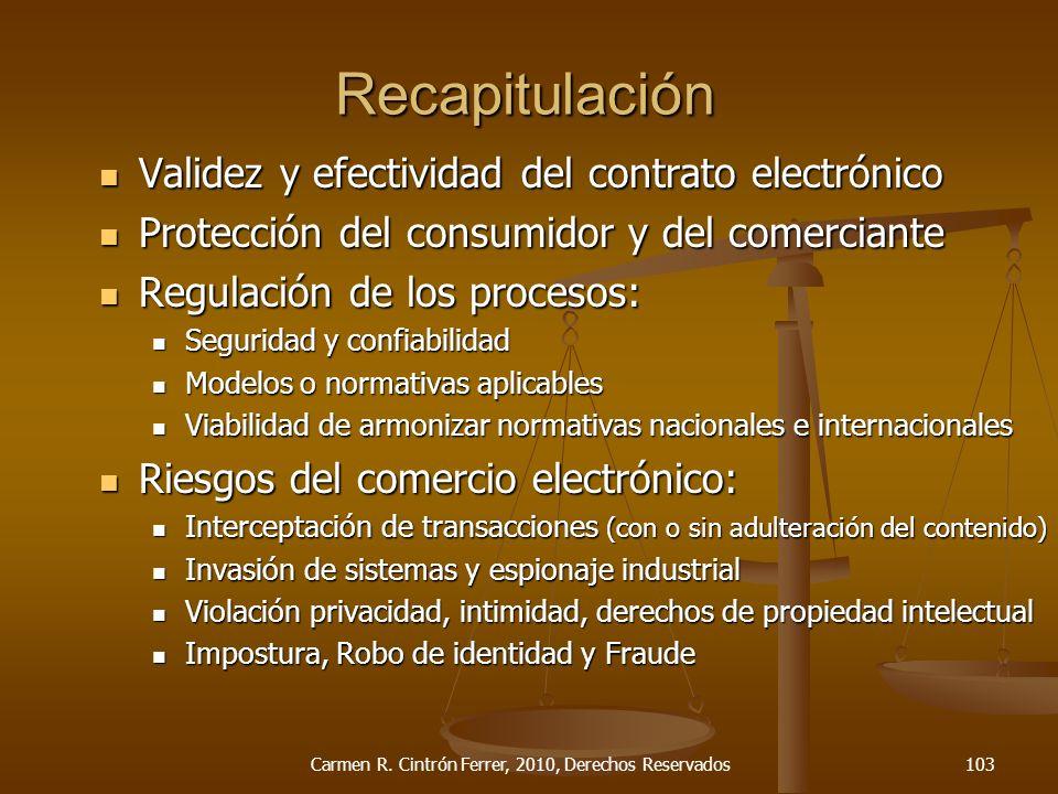 Validez y efectividad del contrato electrónico Validez y efectividad del contrato electrónico Protección del consumidor y del comerciante Protección d