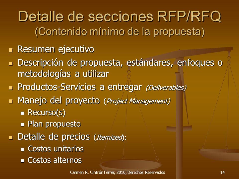 Detalle de secciones RFP/RFQ (Contenido mínimo de la propuesta) Resumen ejecutivo Resumen ejecutivo Descripción de propuesta, estándares, enfoques o m