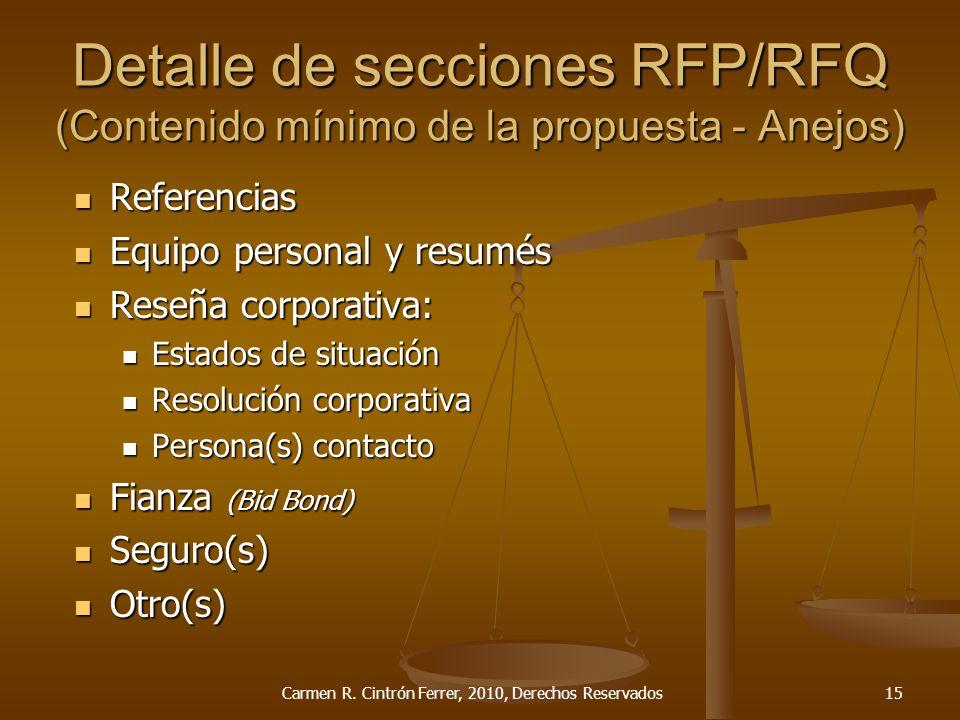 Detalle de secciones RFP/RFQ (Contenido mínimo de la propuesta - Anejos) Referencias Referencias Equipo personal y resumés Equipo personal y resumés R