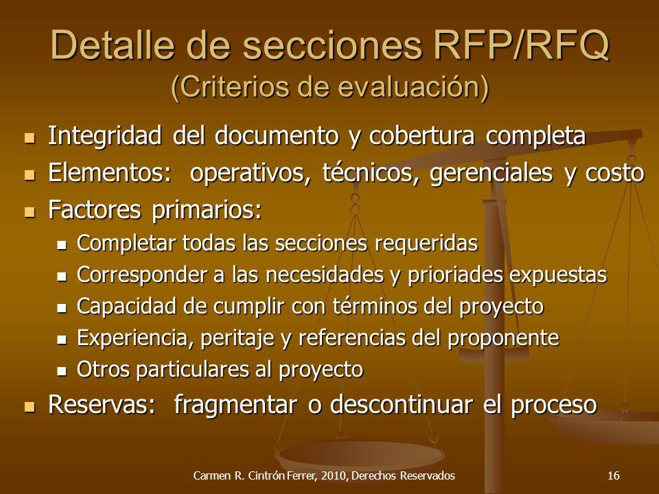 Detalle de secciones RFP/RFQ (Criterios de evaluación) Integridad del documento y cobertura completa Integridad del documento y cobertura completa Ele
