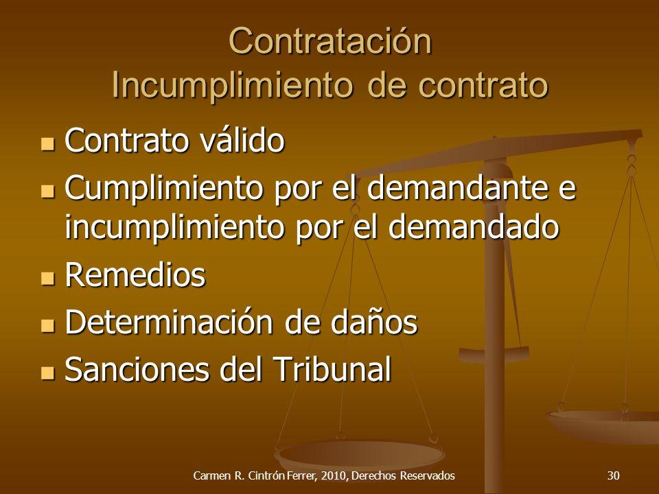 Contratación Incumplimiento de contrato Contrato válido Contrato válido Cumplimiento por el demandante e incumplimiento por el demandado Cumplimiento