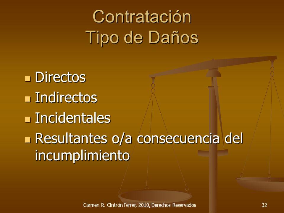 Contratación Tipo de Daños Directos Directos Indirectos Indirectos Incidentales Incidentales Resultantes o/a consecuencia del incumplimiento Resultant