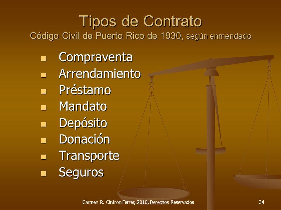 Tipos de Contrato Código Civil de Puerto Rico de 1930, según enmendado Compraventa Compraventa Arrendamiento Arrendamiento Préstamo Préstamo Mandato M