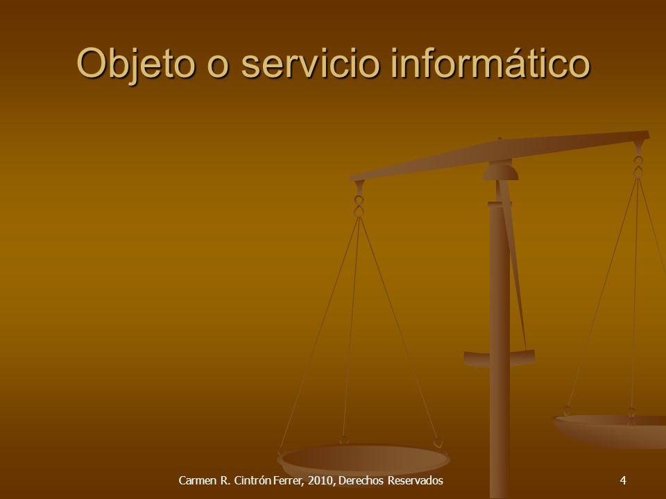 Tipos de contrato Productos o servicios informáticos Equipo (Hardware) Equipo (Hardware) Programado (Software) enlatado Programado (Software) enlatado Programado (Software) desarrollado Programado (Software) desarrollado Mantenimiento de equipo Mantenimiento de equipo Mantenimiento de programación Mantenimiento de programación Servicios de conexión Servicios de conexión Servicio de procesamiento de datos Servicio de procesamiento de datos Consultoría Consultoría Adiestramiento Adiestramiento Administración (Facilities Management) Administración (Facilities Management) Integrados (Turnkey Systems) Integrados (Turnkey Systems) Carmen R.