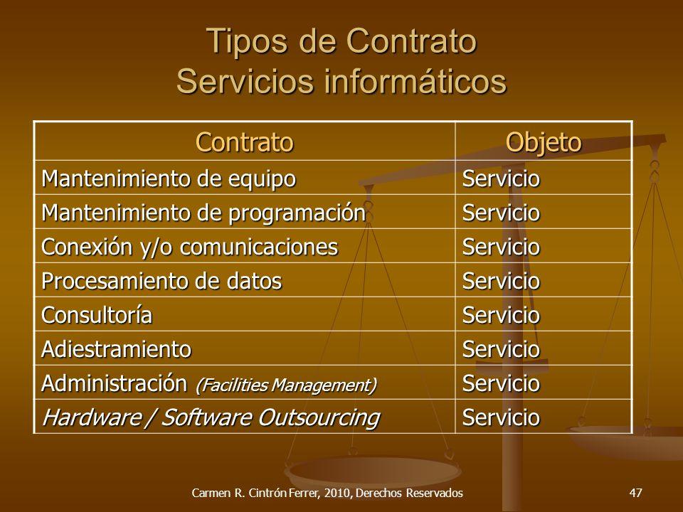 Tipos de Contrato Servicios informáticos ContratoObjeto Mantenimiento de equipo Servicio Mantenimiento de programación Servicio Conexión y/o comunicac