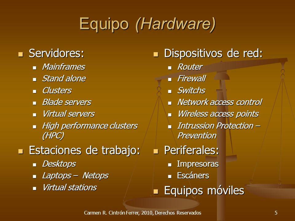 Tipos de Contrato Productos informáticos ContratoObjeto Equipo (Hardware) Cosa Licencia de uso (Software) Cosa Desarrollo de programación (Software development) Cosa y Servicio Integrado (Turnkey/Value-Added) Cosa y Servicio Carmen R.