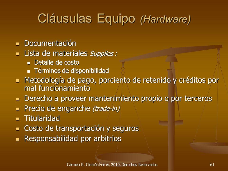 Cláusulas Equipo (Hardware) Documentación Documentación Lista de materiales Supplies : Lista de materiales Supplies : Detalle de costo Detalle de cost