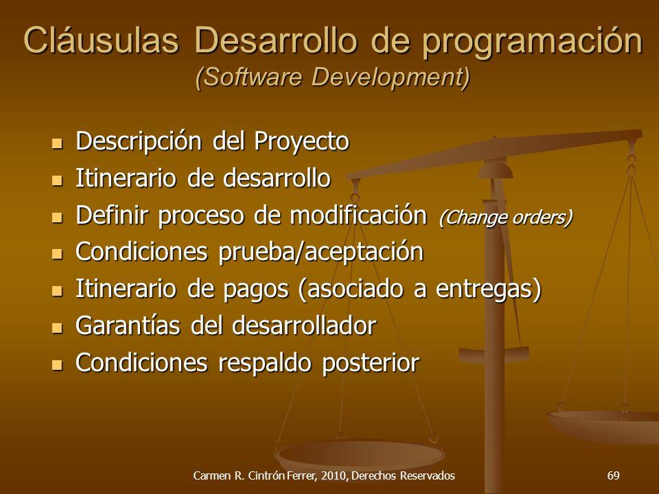 Descripción del Proyecto Descripción del Proyecto Itinerario de desarrollo Itinerario de desarrollo Definir proceso de modificación (Change orders) De