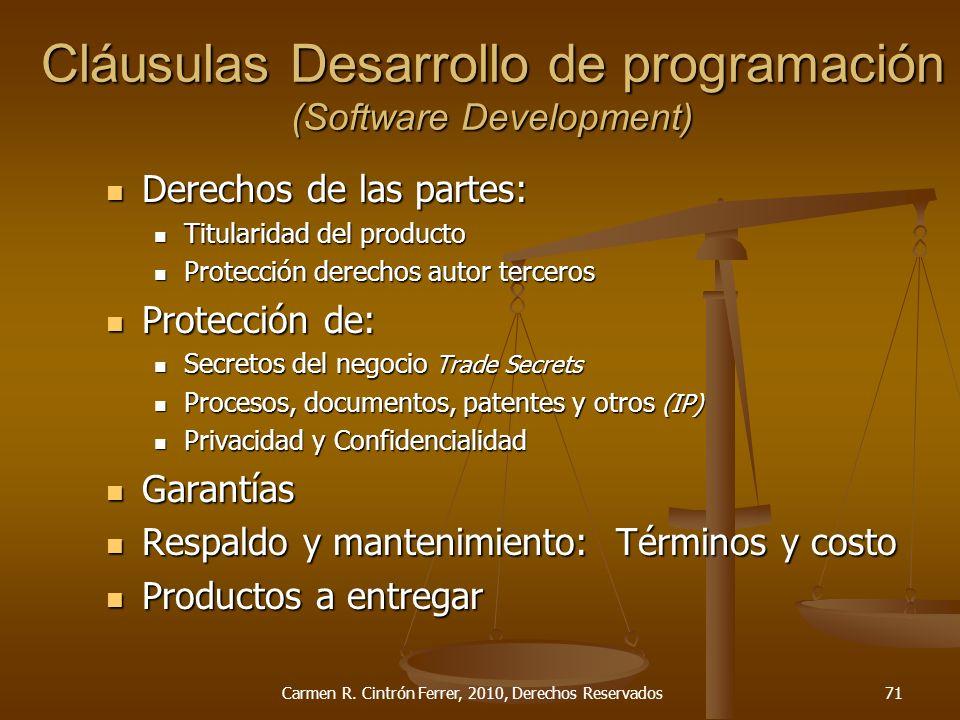 Derechos de las partes: Derechos de las partes: Titularidad del producto Titularidad del producto Protección derechos autor terceros Protección derech