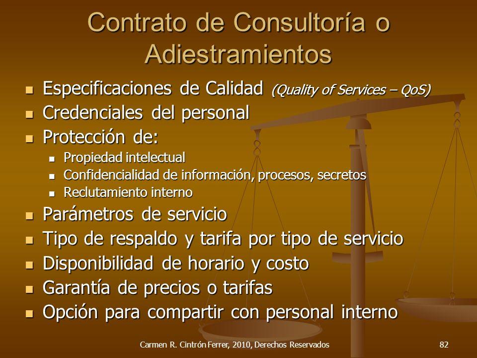 Especificaciones de Calidad (Quality of Services – QoS) Especificaciones de Calidad (Quality of Services – QoS) Credenciales del personal Credenciales