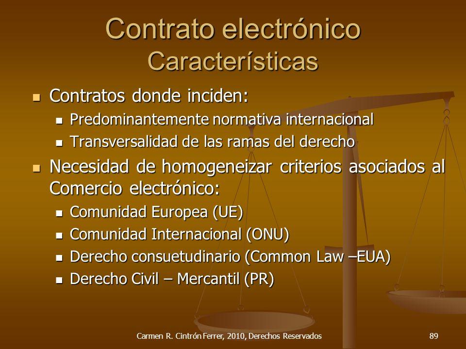 Contrato electrónico Características Contratos donde inciden: Contratos donde inciden: Predominantemente normativa internacional Predominantemente nor