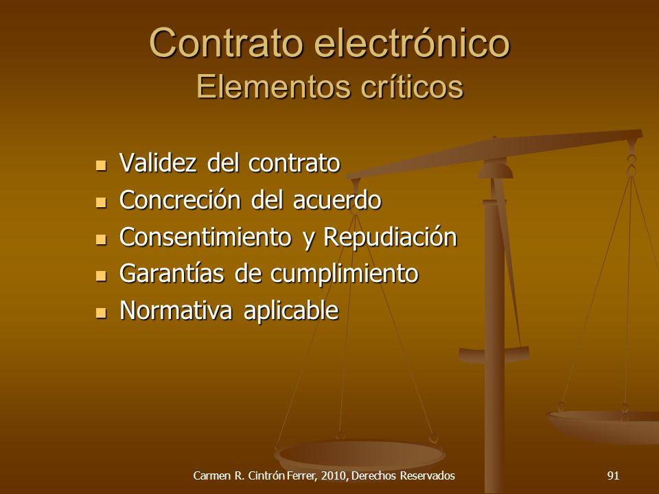 Contrato electrónico Elementos críticos Validez del contrato Validez del contrato Concreción del acuerdo Concreción del acuerdo Consentimiento y Repud
