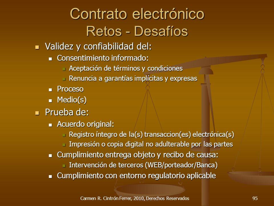 Contrato electrónico Retos - Desafíos Validez y confiabilidad del: Validez y confiabilidad del: Consentimiento informado: Consentimiento informado: Ac