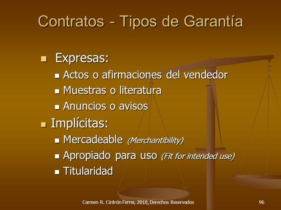 Contratos - Tipos de Garantía Expresas: Expresas: Actos o afirmaciones del vendedor Actos o afirmaciones del vendedor Muestras o literatura Muestras o