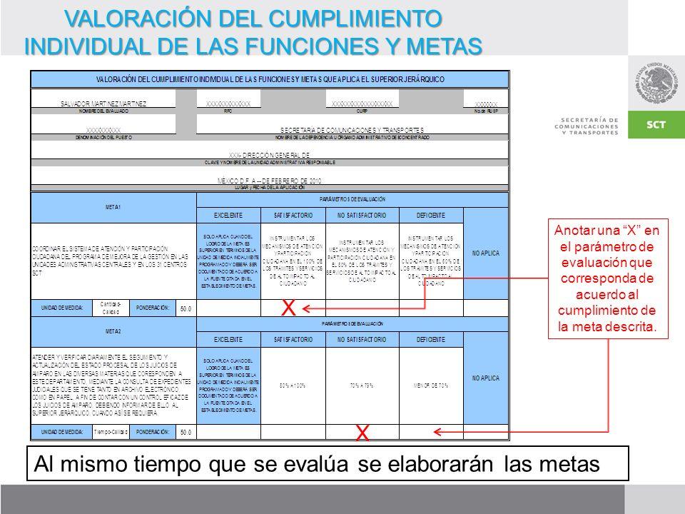 VALORACIÓN DEL CUMPLIMIENTO INDIVIDUAL DE LAS FUNCIONES Y METAS Anotar una X en el parámetro de evaluación que corresponda de acuerdo al cumplimiento de la meta descrita.