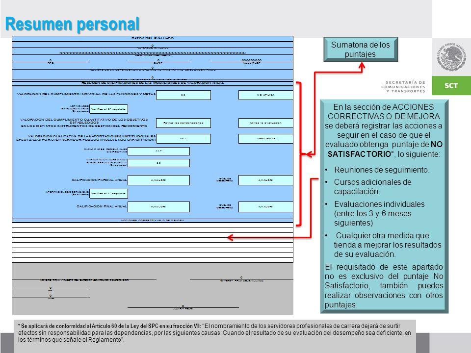 En la sección de ACCIONES CORRECTIVAS O DE MEJORA se deberá registrar las acciones a seguir en el caso de que el evaluado obtenga puntaje de NO SATISFACTORIO*, lo siguiente: Reuniones de seguimiento.