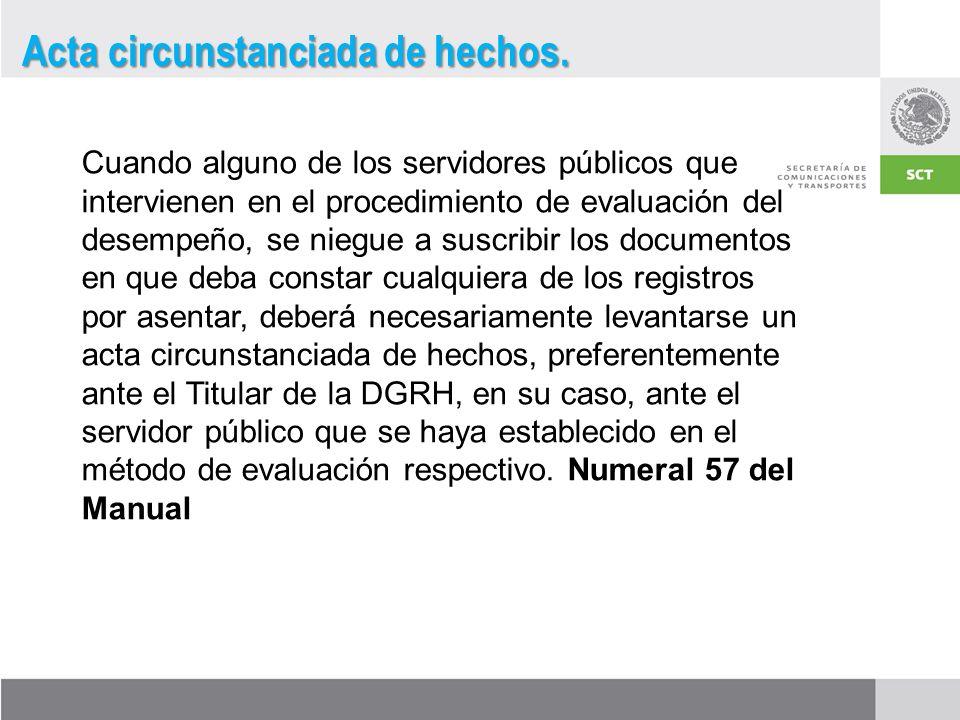 Cuando alguno de los servidores públicos que intervienen en el procedimiento de evaluación del desempeño, se niegue a suscribir los documentos en que deba constar cualquiera de los registros por asentar, deberá necesariamente levantarse un acta circunstanciada de hechos, preferentemente ante el Titular de la DGRH, en su caso, ante el servidor público que se haya establecido en el método de evaluación respectivo.