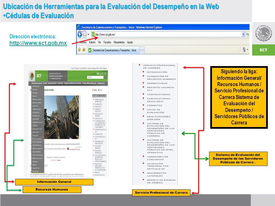 Información General Ubicación de Herramientas para la Evaluación del Desempeño en la Web Cédulas de Evaluación Cédulas de Evaluación Dirección electrónica: http://www.sct.gob.mx http://www.sct.gob.mx Siguiendo la liga: Información General/ Recursos Humanos / Servicio Profesional de Carrera Sistema de Evaluación del Desempeño / Servidores Públicos de Carrera Recursos Humanos Servicio Profesional de Carrera Sistema de Evaluación del Desempeño de los Servidores Públicos de Carrera.