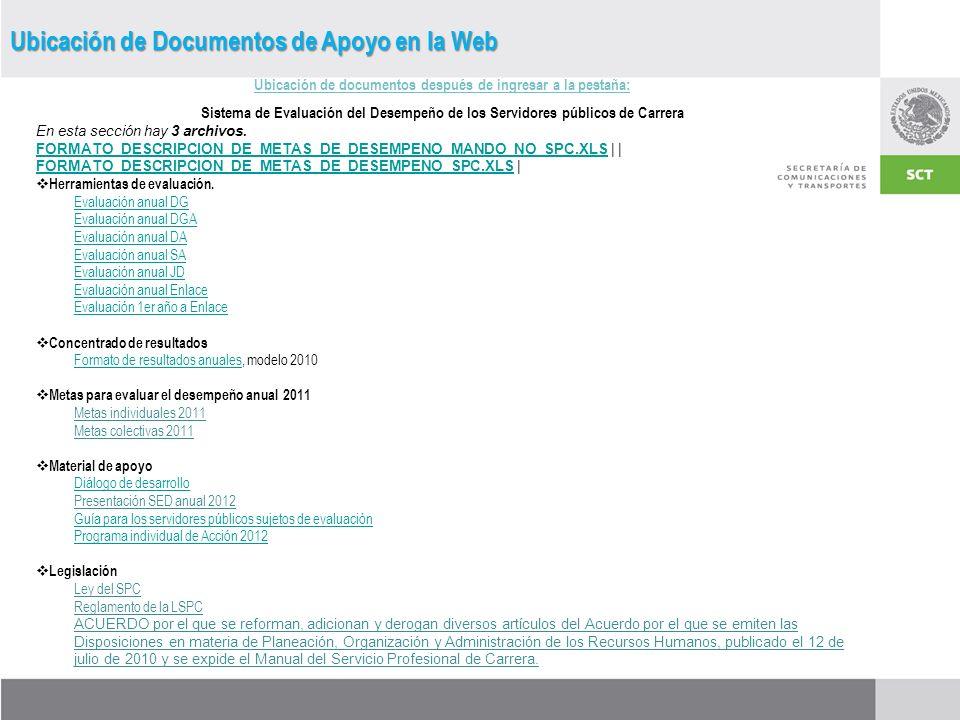 Ubicación de documentos después de ingresar a la pestaña: Sistema de Evaluación del Desempeño de los Servidores públicos de Carrera En esta sección hay 3 archivos.