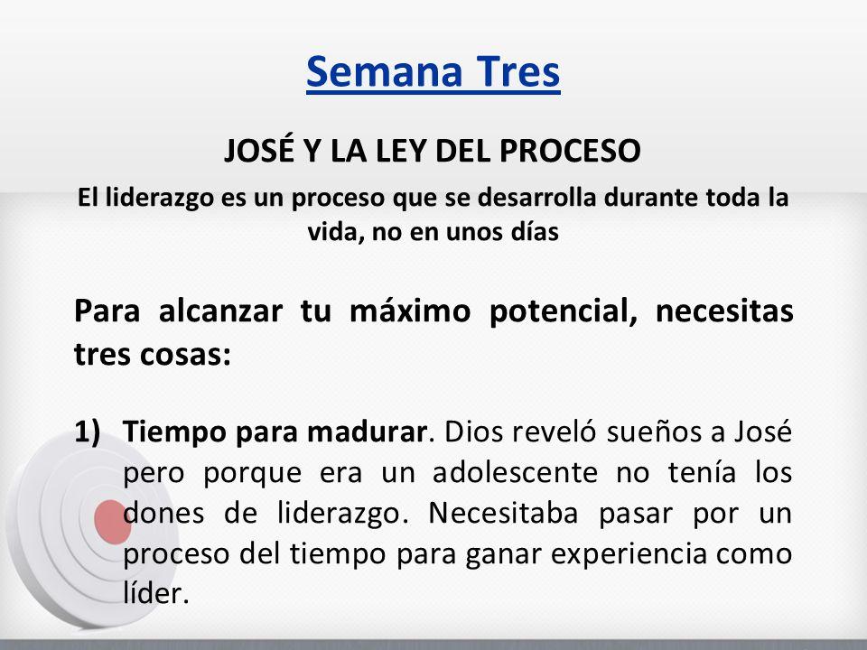 Semana Tres JOSÉ Y LA LEY DEL PROCESO El liderazgo es un proceso que se desarrolla durante toda la vida, no en unos días Para alcanzar tu máximo potencial, necesitas tres cosas: 1)Tiempo para madurar.