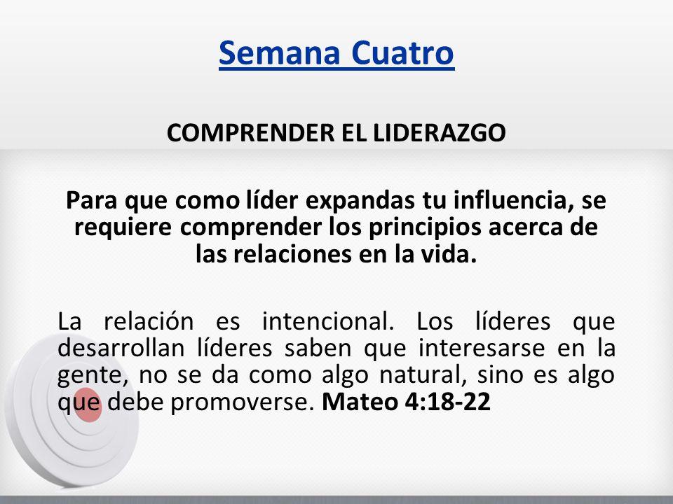 Semana Cuatro COMPRENDER EL LIDERAZGO Para que como líder expandas tu influencia, se requiere comprender los principios acerca de las relaciones en la vida.