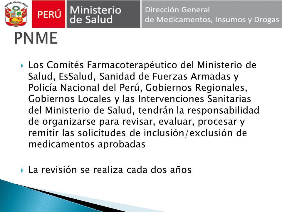 Los Comités Farmacoterapéutico del Ministerio de Salud, EsSalud, Sanidad de Fuerzas Armadas y Policía Nacional del Perú, Gobiernos Regionales, Gobiern