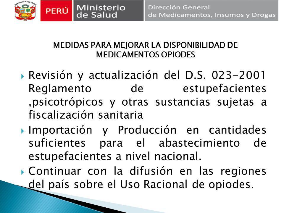 Revisión y actualización del D.S. 023-2001 Reglamento de estupefacientes,psicotrópicos y otras sustancias sujetas a fiscalización sanitaria Importació
