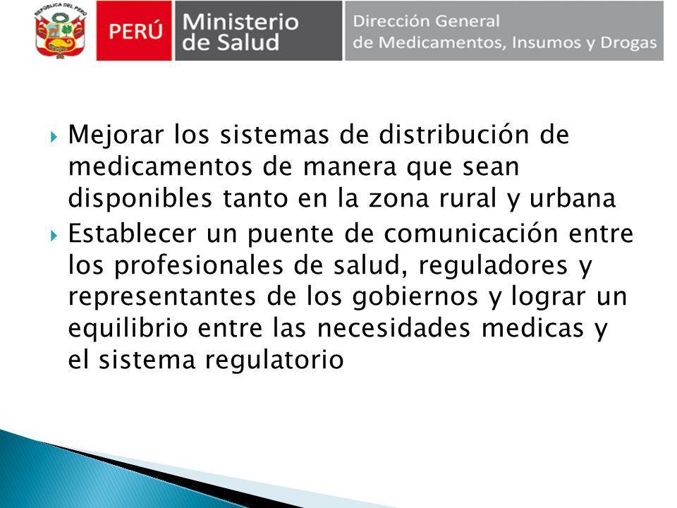 Mejorar los sistemas de distribución de medicamentos de manera que sean disponibles tanto en la zona rural y urbana Establecer un puente de comunicaci