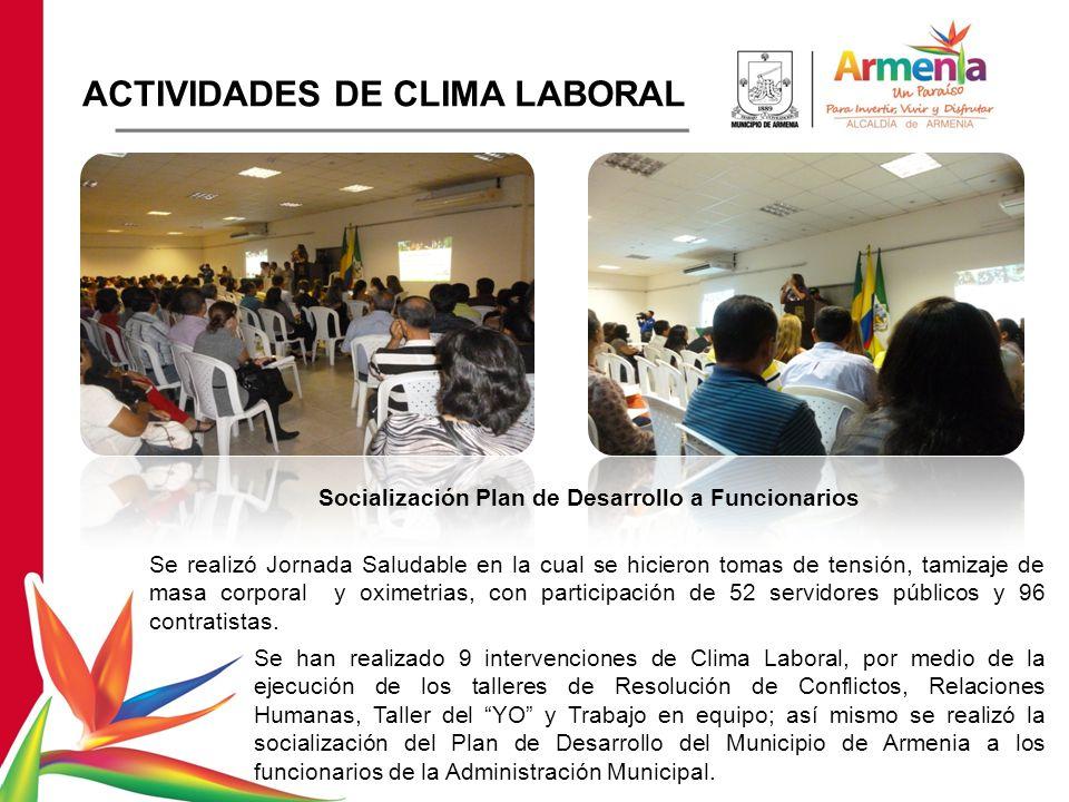 Se realizó Jornada Saludable en la cual se hicieron tomas de tensión, tamizaje de masa corporal y oximetrias, con participación de 52 servidores públicos y 96 contratistas.